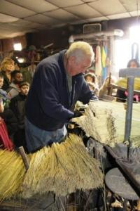 Jim Shaffer demonstrates each step of the broom-making process.