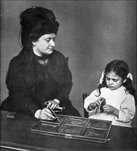 Maria Montessori and a young student.